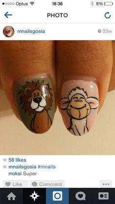 Lion nail Circus Nails, Lion Nails, Nail Art, Nail Arts, Nail Art Designs