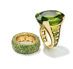 Yellow Gold, Peridot & Tsavorite Ring