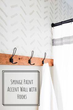 Sponge Paint Accent Wall this Hooks Bathroom Stencil, Bathroom Accent Wall, Bathroom Accents, Paint Accent Walls, Kitchen Accent Walls, Painting An Accent Wall, Bathroom Hooks, Painting Bathroom Walls, Diy Wall Hooks