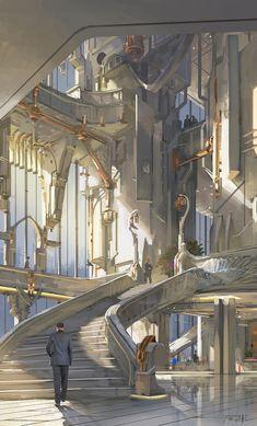 Essentials of Digital Painting Course - Digital Visionary Art Fantasy City, Fantasy Castle, Fantasy Places, Fantasy World, Disney Fantasy, Fantasy Art Landscapes, Fantasy Landscape, Landscape Art, Fantasy Concept Art