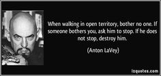 Anton LaVey quotes - We are so inculcated with guilt that we think that weakness is a sin or that it is some crime against nature to be submissive. Anton Lavey Quotes, Wisdom Quotes, Me Quotes, Beast Quotes, The Satanic Bible, Satanic Art, Word Board, Deep Thought Quotes, Famous Quotes