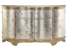 Shop for Stein World Celeste Credenza, 64701, and other Living Room Cabinets at Stein World in Memphis, TN. Gorgeous hand-painted silver and gold metallic narrow credenza with curved breakfront, four doors with one interior removable shelf and center drawer.