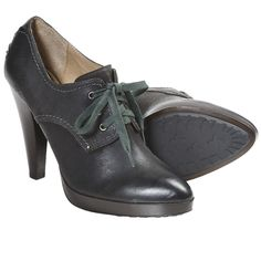 Frye Harlow Oxford Shoes - Oiled Leather, Platform  in Charcoal; $148.50