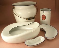 Enamel Hospital Pans - Chamber Pot, Lg Emesis, Sm Emesis, Douche Can, Bedpan