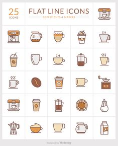 Flat line icons of coffee cups and makers