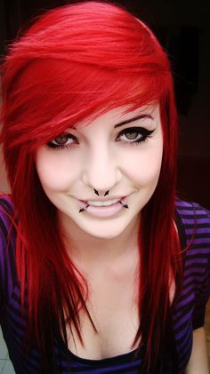 i want to get my septum and my snake bites... not the hair color... but whatever!:D #pretty #septum #snakebites #lipring #nosering #jewelry #hair #red