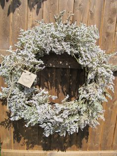 Dried German Statice Wreath by handmadebyjennylou on Etsy, $40.00