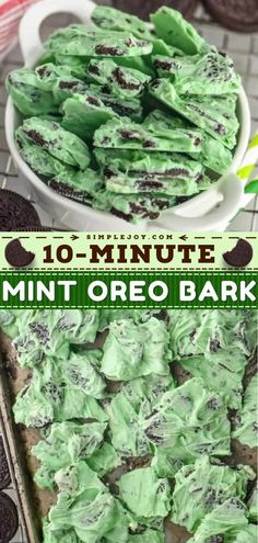 This contains: Mint Oreo Bark, christmas desserts, holidays Easy Holiday Desserts, Christmas Desserts, Oreo Bark, Baking Recipes, Dessert Recipes, Mint Oreo, Bark Recipe, Green Food Coloring, No Bake Treats