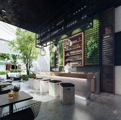 Industrial look, linear undercounter lighting. I like the greenery contrast that is portrayed here against the concrete and timber