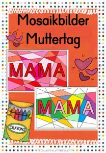 Mosaikbilder Muttertag – Unterrichtsmaterial im Fach Crafts For Kids, Comic Books, Father's Day, Teaching Materials, Kunst, Crafts For Children, Kids Arts And Crafts, Cartoons, Comics