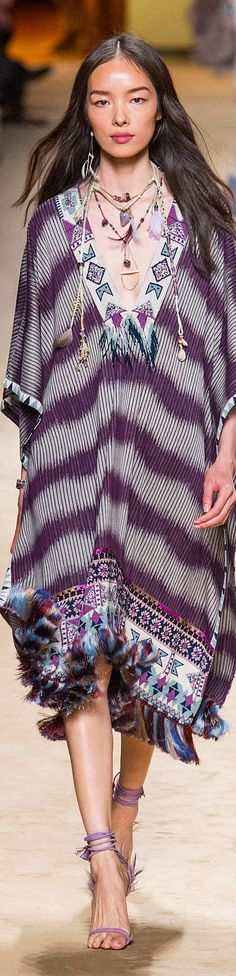 Inspiration for color pallet, use of feather and embellishment   Etro Collection Spring 2015