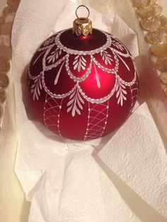 Hand painted Lace Christmas Ornament Deep Red color.