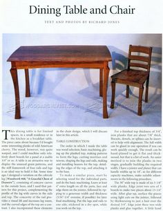 #3045 Dining Table and Chairs Plans - Furniture Plans