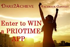 It's time to make up your mind on what will be your 2014 New Year's resolution and enter our #Dare2Achieve New Year's Facebook Contest for a chance to WIN a PRIOTIME APP!  Rules: Tell us and your friends what 's your #1 New Year's resolution.Share the download link provided in our description , and tag us and the contest in your post so we can follow you (@PrioTime #Dare2Achieve).The more people like and share your New Year's resolution status, the more chances you have to win.  Be creative!