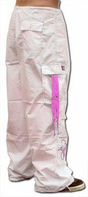 Ghast Cargo Drawstring Pants (White/Pink)