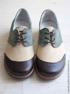 51d93950a89e Обувь ручной работы. Ярмарка Мастеров - ручная работа Полосатые ботинки из  натуральной кожи. Handmade.