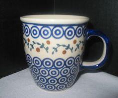 Boleslawiec Poland Pottery Coffee Tea Mug Cobalt Blue Circles Dots Leaves Berry