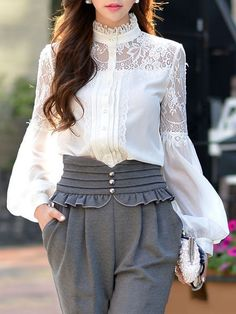 DABUWAWA Crocheted Lace Paneled Blouse