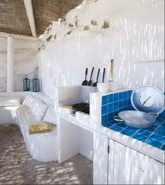 BBQ and white and blue seating in my villa of the future!