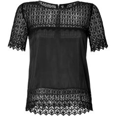 THE KOOPLES Silk Blouse with Lace Trim (€180) found on Polyvore