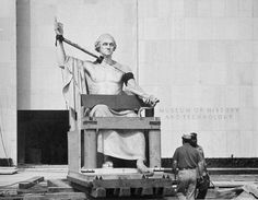 Horatio Greenough Statue of George Washington, by Unknown, 1962, Smithsonian Archives - History Div, 99-75.