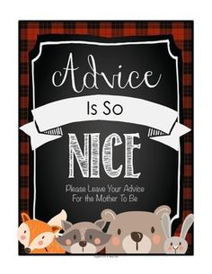WOODLAND ANIMAL BABY SHOWER PRINTABLES - RED PLAID - TeachersPayTeachers.com  Great for a woodland, forest, or Christmas themed shower. Each design includes woodland/forest animals (Raccoon, Rabbit, Bear, Fox, and Hedgehog) with chalkboard and buffalo plaid backgrounds.  Includes Advice Printable Advice Cards - Blank and with Advice Sentences to finish Who Is My Mama? Game cards with answer key Thank You Card set Blank Printables to match the set Plaid table Cards to label food
