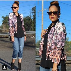 @melissa_sweetstyles scored this Aryn K. Floral blazer from us for just $32! It's originally $114! Follow her blog for more fabulous styles! #arynk #designer #instafashion #fblogger #shopmieux