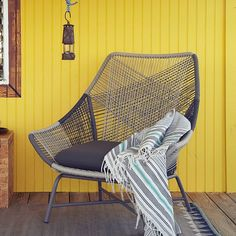"""Huron Large Lounge Chair in Gray/Seal, made of woven cord on aluminum frame, by West Elm $700 #""""patio furniture"""""""