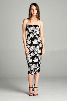 39f6d286b4 Monochrome Floral Strapless Bodycon Mini Tube Dress