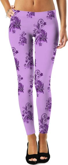 Purple, pink, violet flowers, ornament, asymetric floral design colorful flora leggings. Item printed by RageOn.com Production Time: 7-13 business daysShipping:USA: 4-10 bu... #hot #cool #stylish #sexy #unique