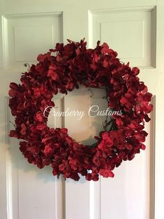 This item is unavailable Red Hydrangea, Hydrangea Wreath, Green Wreath, Berry Wreath, Fall Flowers, Red Flowers, Fall Wreaths, Christmas Wreaths, Beautiful Front Doors
