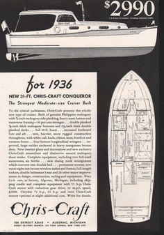A 1936 Chris Craft Boat Cruiser Blueprint Wooden Inboard 31' Conqueror Algonac A   eBay