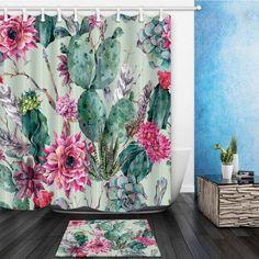 Boho Style Cactus Print Bathroom Waterproof Curtain Shower Set with Hooks 72x72