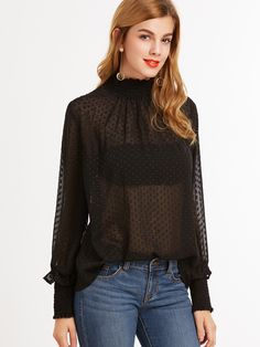 Shop Black Sheer Dotted Blouse With Smocked Detail online. SheIn offers Black Sheer Dotted Blouse With Smocked Detail & more to fit your fashionable needs.