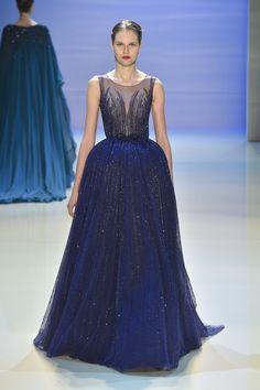 Georges Hobeika | Fall 2014 Couture | 14 Blue embellished sleeveless maxi dress