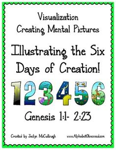 This pack contains a visualization/illustration page for each day of creation from the Bible. Each page has the verses from Genesis (ESV) that des. Creation Bible, Days Of Creation, Bible Story Crafts, Bible Stories, Sabbath Activities, Bible Guide, Lesson Plans For Toddlers, Bible Study Plans, Prayers For Children