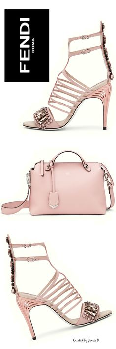 Fendi | FASHION SHOW SANDALS - in pink leather and crystals & THE WAY - Small Boston Bag