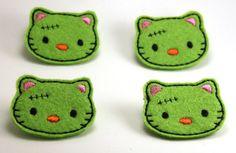 Felt Embellishments  Zombie Franken Kitty by ZandyLand on Etsy,