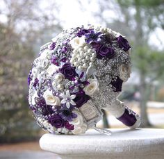 Items similar to Pink and Purple Wedding Brooch Bouquet. Purple Brooch Bouquet, Bling Bouquet, Wedding Brooch Bouquets, Bride Bouquets, Purple Bouquets, Bridesmaid Bouquets, Peonies Bouquet, Flower Bouquets, Luxury Wedding