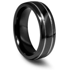 Bridal Wedding Bands Decorative Bands Edward Mirell Black Ti Polished Grooved Concave Ring Size 12.5