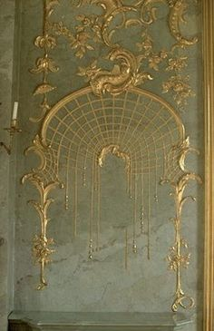 Close up of gilded plaster work in Schloss Charlottenburg Palace Berlin Germany