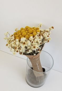 Heather - Dried Flower Bridesmaid or Bridal Wedding Bouquet, ivory, white, and gold. $110.00, via Etsy.