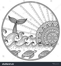 Whale diving into sea against the sunset. Ocean landscape with waves, mandala in form of sun, fish tail. Coloring book page for children and adults. Ocean Coloring Pages, Printable Adult Coloring Pages, Mandala Coloring Pages, Colouring Pages, Coloring Books, Tattoo Men Small, Mandala Art Lesson, Mandalas Drawing, Surfboard Art