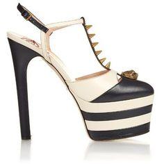 Gucci Angel spike-embellished leather platform sandals
