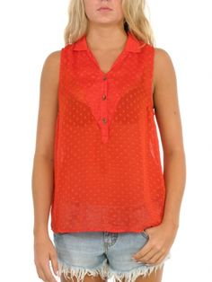 Tailor Made Tank Top for women by Volcom. 100% Polyester. Model is wearing a size Medium.