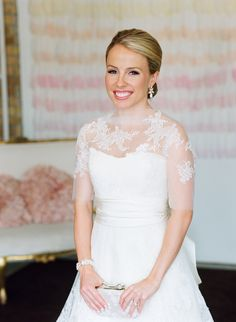 Love the lace jacket overlay over this Vera Wang gown  Photography: Liz Banfield - www.lizbanfield.com  Read More: http://www.stylemepretty.com/2014/03/14/classic-pink-blush-wedding/