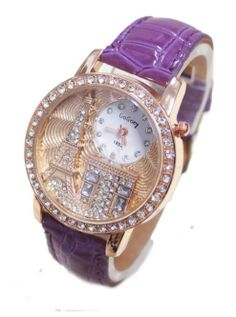 PURPLE Luxury Rhinestone-Studded Iron Tower Leather Ladies Watch-Quartz