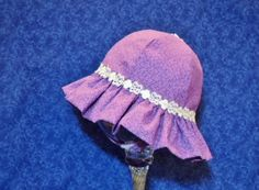 Baby Sunhat Purple with White Lace and Chin by AdorableandCute