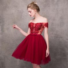 Wine Red Elegant Cocktail Dresses A-line Short Sleeves Short Mini Tulle Lace Formal Party Dress Dresses Short, Formal Dresses, Elegant Cocktail Dress, A Line Shorts, Tulle Lace, Dream Dress, Special Occasion Dresses, Dress To Impress, Bridal Gowns