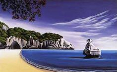 Cathedral Cove by Diana Adams for Sale - New Zealand Art Prints Nz Art, Art For Art Sake, Large Art Prints, Fine Art Prints, Landscape Art, Landscape Paintings, New Zealand Landscape, New Zealand Art, Irish Art